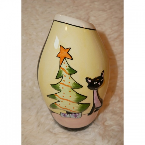 Lorna Bailey Christmas Little Oval Vase Pink Cat - Limited Edition