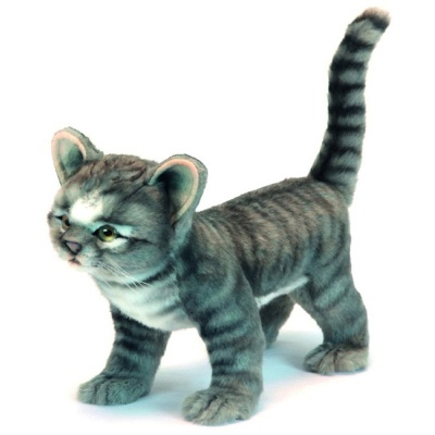 Standing Grey Kitten Plush Soft Toy