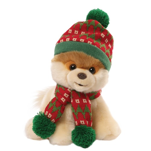 Itty Bitty Boo Wearing Holiday Hat with Scarf Soft Toy