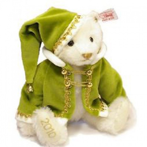 Steiff Little Santa Bear Green Teddy Bear