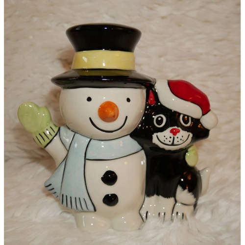Lorna Bailey Christmas Snowman and Friend Blue Scarf - Limited Edition