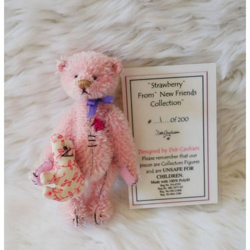 Deb Canham Stawberry Limited Edition Mohair Teddy Bear