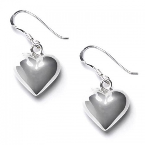 Sterling Silver Puffed 15 mm Heart Dangle Earrings