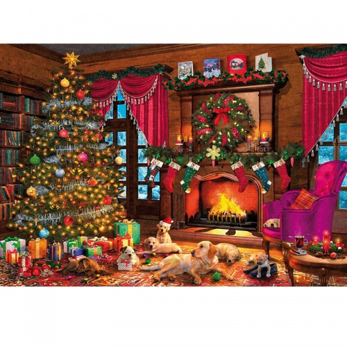 Wentworth Yuletide Puppies 250 Piece Laser Cut Wooden Jigsaw Puzzle