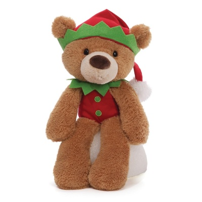 Gund Fuzzy Elf Light Brown Christmas Teddy Bear