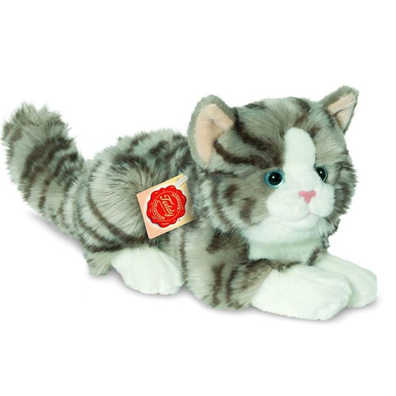 teddy hermann cat lying grey 20cm soft toy dragon toys. Black Bedroom Furniture Sets. Home Design Ideas