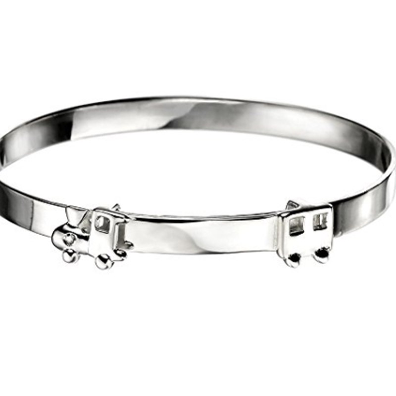 Diamond Set Sterling Silver Train Design Baby Bangle for Boy ...