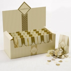 Neviti Chic Boutique Ivory and Gold Heart Confetti (20 Cartons)