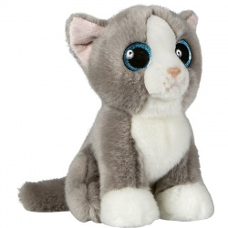 Petjes Glitter Eyes Cat Grey/White Soft Toy