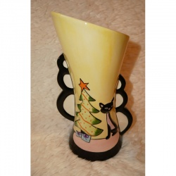 Lorna Bailey Christmas Trio Vase Pink Cat - Limited Edition