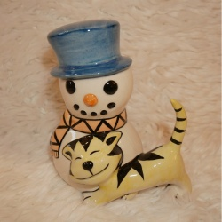 Lorna Bailey Christmas Snowman Cat In Front Orange Scarf