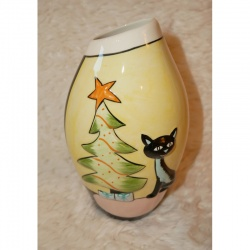 Lorna Bailey Christmas Little Oval Vase Blue Cat - Limited Edition