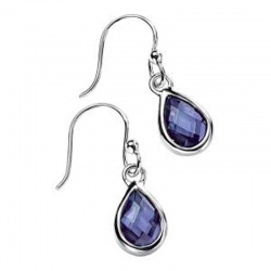 Ladies Faceted Teardrop Amethyst in Sterling Silver Teardrop Earrings