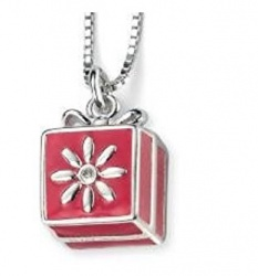 Enamel Girls Box Pendant with Extendable Necklace