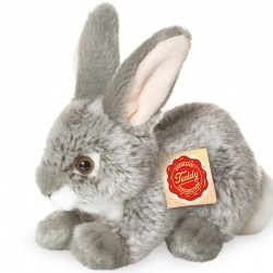 Teddy Hermann Grey Rabbit Sitting Plush Soft Toy Animal