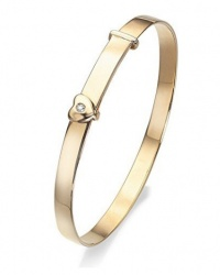 9ct Gold Diamond Set Adjustable Heart Baby Bangle