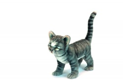 Hansa 6574 life like a grey standing cat 30cm Plush Soft Toy