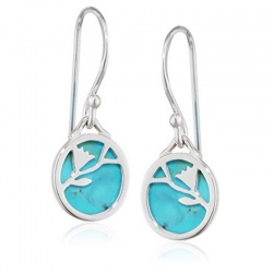 Ladies Turquoise Disc Flower Pattern Sterling Silver Earrings