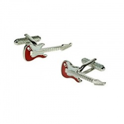 Mens Red Strat Guitar Musician Cufflinks