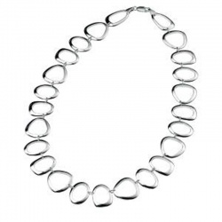 Silver Ladies Large Oval, Triangle and Round Open Link Necklace