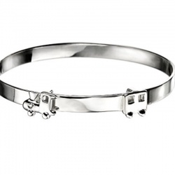 Diamond Set Sterling Silver Train Design Baby Bangle for Boy