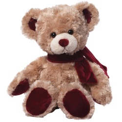 Gund Velvetino Bear With Red Scarf Soft Toy