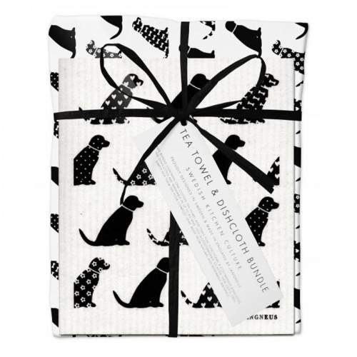 Jangneus Black Dogs Tea Towel and Dish Cloth Bundle