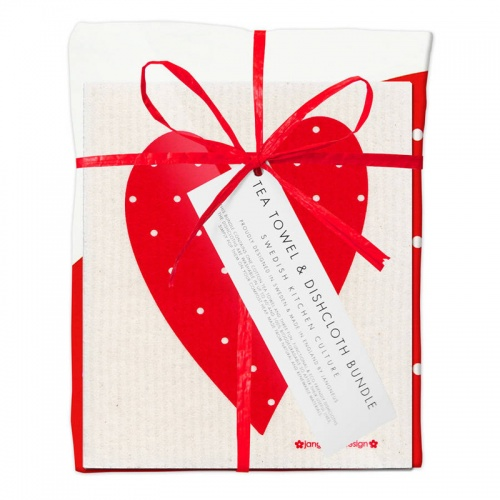 Jangneus Red Heart Tea Towel and Dish Cloth Bundle