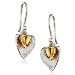 Gold Plated Double Heart Sterling Silver Earrings of Length 2.5 cm