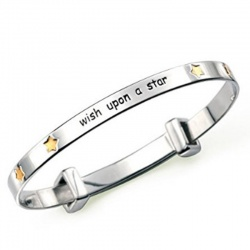 Rhodium and Gold Plated Wish Upon a Star Expanding Bangle