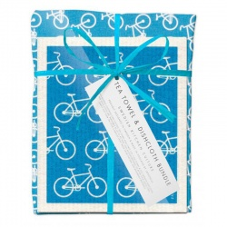 Jangneus Turquioise Bikes Tea Towel and Dish Cloth Bundle